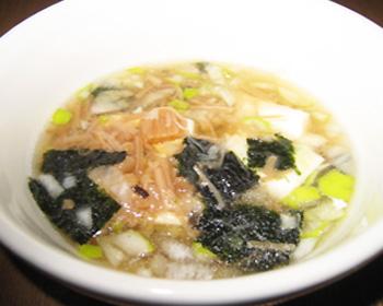 海苔たっぷり湯豆腐スープ