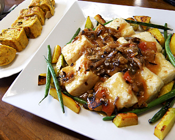 きのこたっぷりの卵焼きと揚げだし豆腐
