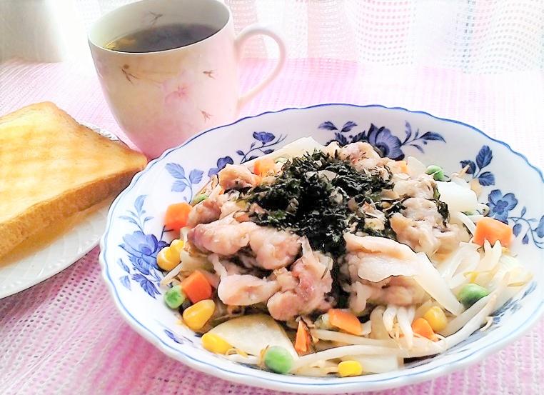 レンチン5分・豚肉と野菜の蒸し物