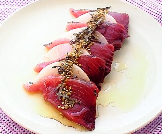 柚子胡椒風味のカルパッチョ