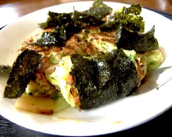 キャベツと海苔のお好み焼き風卵焼き