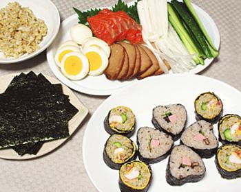ハートの海苔巻き&焼豚とサーモンの手巻き寿司